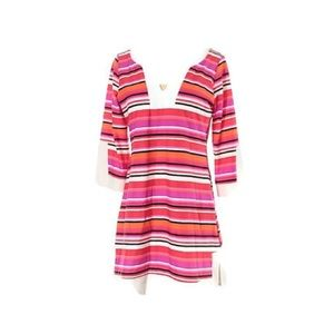 Jude Connaly S 3/4 Bell Sleeve Strioed Beach Dress
